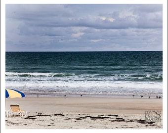 Beach Umbrella Yellow and Blue at Seashore Peaceful - Fine Art Photograph Print Picture