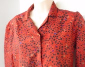 Vintage Ladies Long Sleeve Button Down Light Weight Dress Blouse Red with Black Size 10
