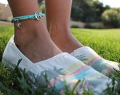 Teal Blue Leather Wrap Around ANKLET with Silver Anchor Charm Hook