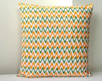 SALE-Chevron print pillow in  Orange Green and white 16x16 Chevron cushion cover