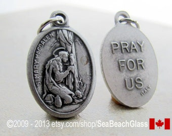 St Mary Magdalene Saint Medal Charm Made in ITALY, Necklace. Catholic Jewelry. Baptism, Gift Hairdresser. Pharmasist. Sinner Patron Saint
