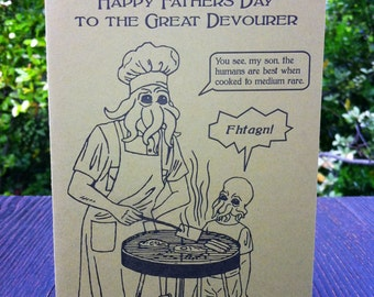 Cthulhu Funny Father's Day Letterpress Greeting Cards Horror Card Lovecraft