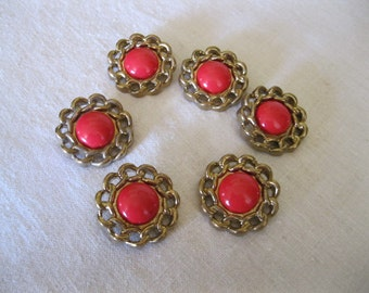 Vintage  Button ( 6 )      Red and gold