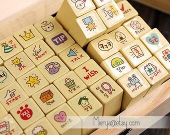 Korean Diary Stamp Set - Rubber Stamp - Deco Stamp - ToTo Ver 2
