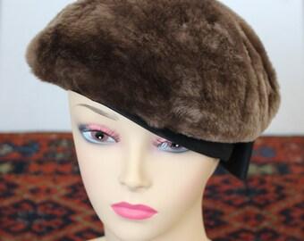 60s IRENE fur beret / satin black bow hat