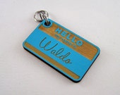 Wood Pet Collar Tag Hand Painted - Cat ID Tag Laser Cut - Blue Dog Tag