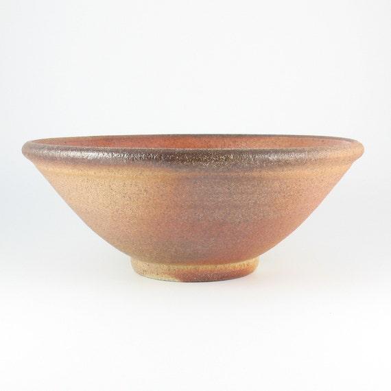 Stoneware Pottery Bowl, Serving Bowl, Woodfired Bowl with Shino Glaze