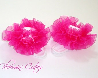 Hot Pink Organza Newborn Infant Toddlers and Girls SUPER RUFFLE SOCKS by Bloomin Cuties Boutique