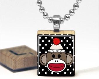Sock Monkey Scrabble Tile Pendant Necklace by Cheeky Monkey Pendants Gift-Present