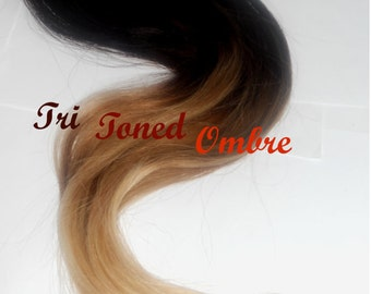 Reserved for Ashely / 26-28 Inches Long/ Double Wefted / T H I C K Full Set Warm Fall Colors Extension /Tips Dip Dyed/ Ombre