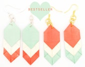 Coral/Mint Chevron Origami Earrings