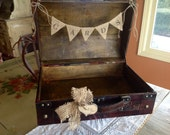 Rustic Wedding Card Box With Burlap Banner, Personalized