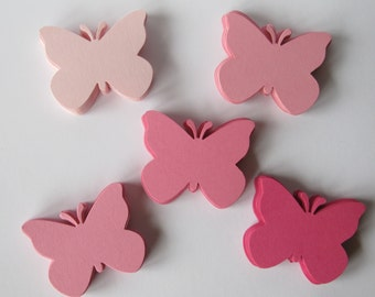 Set of 50 Mixed Pink  Butterfly Punch Die Cut Confetti Cutout Scrapbook Embellishments