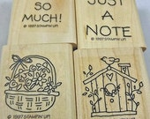 "STAMPIN' UP Stamp Set -  ""Just a Note""  - 1997 Retired Sta,mpin Up Set for Scrapbooking. Cardmaking, Collage, Crafts HTF"