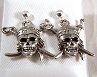 Pewter Pirate Charms on Sterling Silver Studs Earrings  -5215