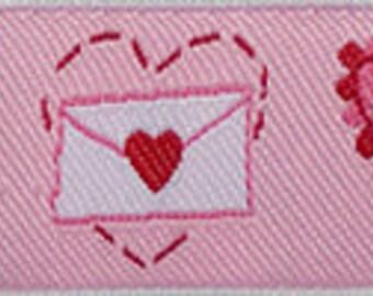 "VALENTINES on Pink Jacquard Ribbon - 7/8"""