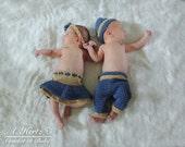 Crochet Twin Pants/Hat and Skirt Diaper Cover/Headband Set Photo Prop - Newborn - PATTERN ONLY
