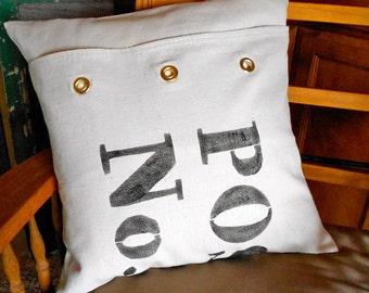 Typography Pillow Cover Postal Bag Decorative Pillow No 5 Post Bag details