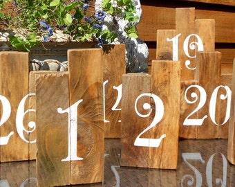 Rustic  Wedding Table Numbers Handpainted on Reclaimed Pine