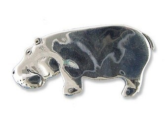 Sterling Silver Hippo Pin