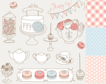 14 Hand Drawn Cake, tea party, macron elements & digital paper. Clip art for scrapbooking, wedding invitations, Personal and Commercial Use