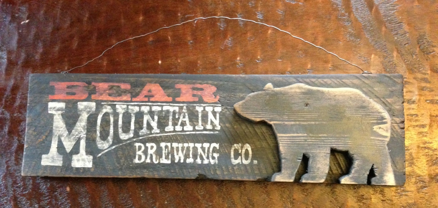 Bear Mountain Brewing Co Wood Sign