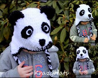 Crochet Panda hat.Made to order.