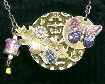Aqua-Terra Jasper, Turquoise, Lizard, Butterfly, Leaf, Flower Necklace