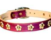 Leather Dog Collar-Hand Stained Daisy Collar