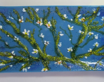 Fused Glass Plate, Inspired by Van Gogh, Slumped Glass Plate, Home Decor, slumped glass, glass art, blue, dish, Handmade, glass art, G3