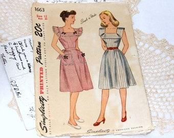 1940s Simplicity Apron Dress Pattern - 1663 - Size 12 - Complete Cut