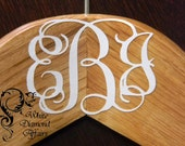 """1.5"""" (1) Personalized 3 Letter Wedding Monogram Decal for your Personalized Wedding Hanger, Bridal Shower Gift"""