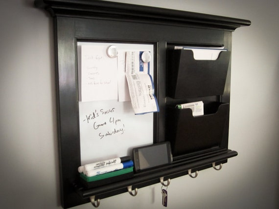 Black Wall Mail Organizer Magnetic Whiteboard By