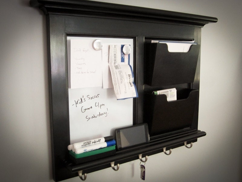 Black Wall Mail Organizer Magnetic Whiteboard by ...