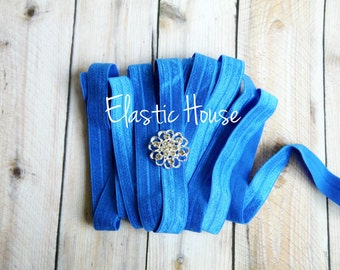 """5 or 10 Yards 5/8"""" Fold Over Elastic - Royal Blue Color - DIY Headband/ Hair Accessories Supplies"""