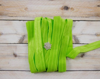 "5/8"" Fold Over Elastic - Lime/Key Lime Color - Green Elastic Fold Over - Plain Elastic Fold Over- Birthday/Party-Hair Accessories Supplies"