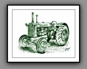 John Deere Vintage Tractor Print from my original drawing