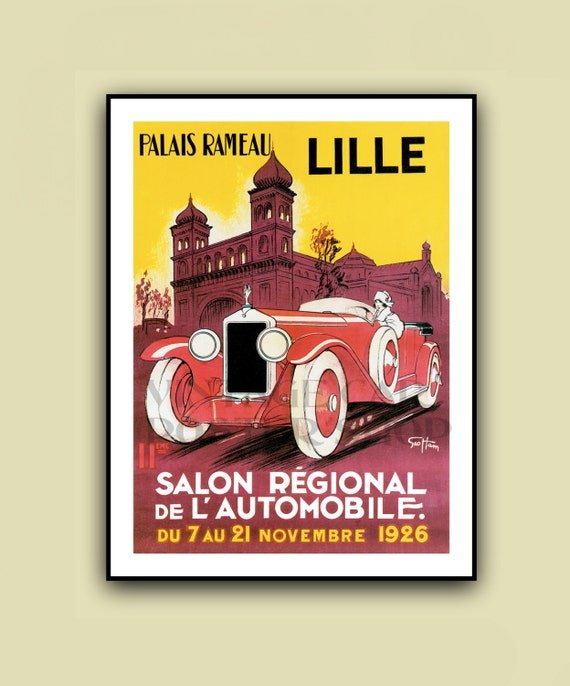 1926 vintage lille grand prix poster print in full color - Boutique vintage lille ...
