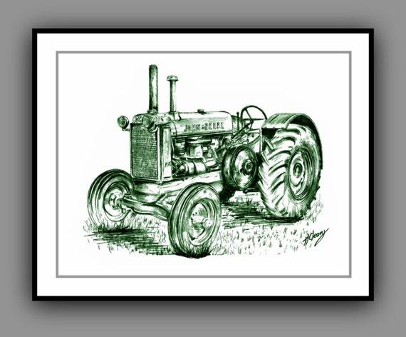 John Deere Tractor Cartoon Prints : John deere vintage tractor print from my original drawing