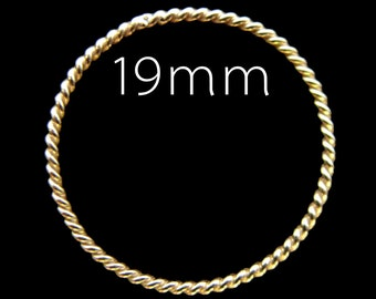 CLEARANCE Elegant Vermeil Twisted Jump Rings 19 mm  Closed 4 pcs R4T19