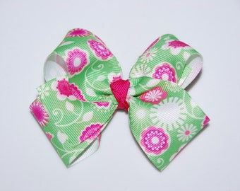4 Inch Floral Boutique Bow Hair Clip / Adult Hair Clip / Toddler Hair Clip / Boutique Bow Hair Clip