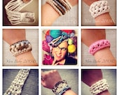 SEVEN Crochet Bracelet Patterns, DIGITAL DOWNLOAD