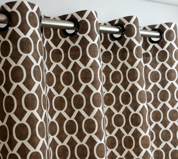 Brown White Sydney Modern Geometric Honeycomb Curtains