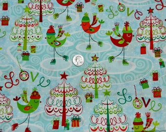Merry Chris-Moose Birds - Fabric By The Yard