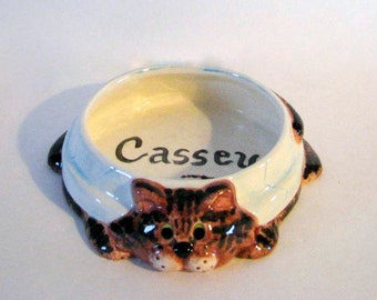 Customized Ceramic Cat Food or Water Bowl - 6 inches wide, hand made