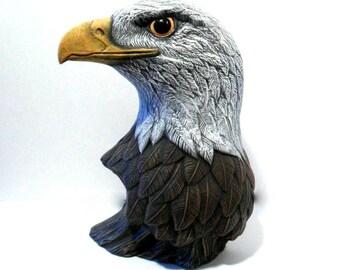 Ceramic Eagle Head - 10 inches - hand made, eagle bust