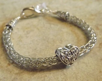 Bracelet For Mom With Heart Bead Viking Knit Bracelet Mother's Day Gift Free Shipping To US and Canada