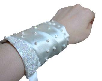 HALF PRICE SALE - Hand Beaded Ivory Bridal Cuff