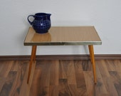 SALE Mid Century Table. East Germany.  Faux Wood Laminate. 1960s.  Small Coffee Table. Plant Stand.