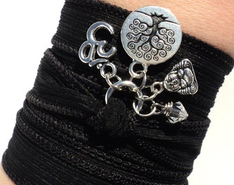 Tree of Life Om Silk Wrap Bracelet Buddha Zen Yoga Jewelry Meditation Namaste Black Unique Gift For Her or Him Under 50 Item Y1